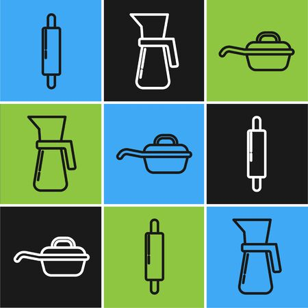 Set line Rolling pin , Frying pan and Measuring cup icon. Vector