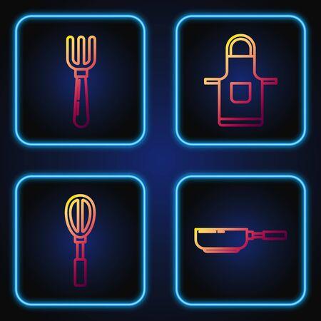 Set line Frying pan , Kitchen whisk , Fork and Kitchen apron . Gradient color icons. Vector Ilustração