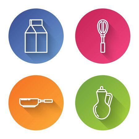 Set line Paper package for milk , Kitchen whisk , Frying pan and Bottle of olive oil . Color circle button. Vector Ilustração