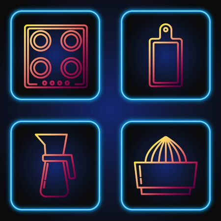 Set line Citrus fruit juicer , Measuring cup, Gas stove and Cutting board . Gradient color icons. Vector
