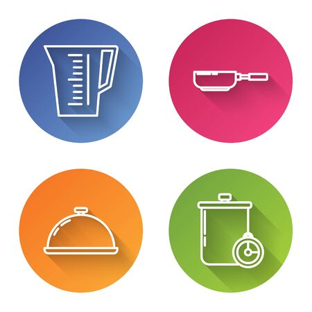 Set line Measuring cup, Frying pan , Covered with a tray of food and Cooking pot and kitchen timer . Color circle button. Vector