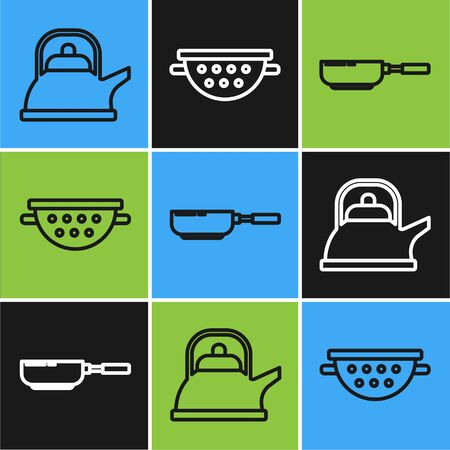 Set line Kettle with handle , Frying pan and Kitchen colander icon. Vector