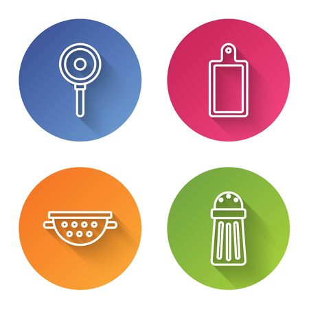 Set line Frying pan , Cutting board , Kitchen colander and Salt . Color circle button. Vector