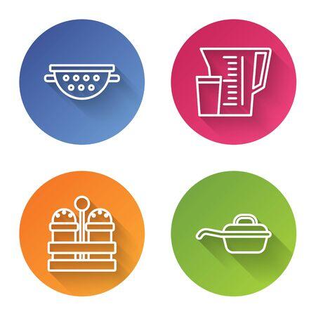 Set line Kitchen colander , Measuring cup, Salt and pepper and Frying pan . Color circle button. Vector Ilustração