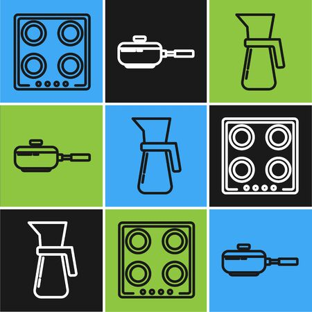 Set line Gas stove , Measuring cup and Frying pan icon. Vector