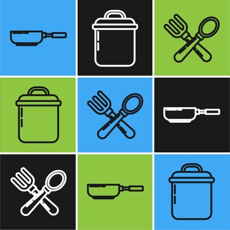 Set line Frying pan , Crossed fork and spoon and Cooking pot icon. Vector Ilustração