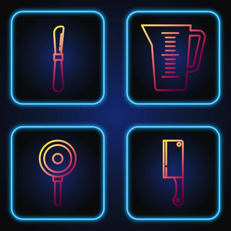 Set line Meat chopper , Frying pan , Knife and Measuring cup. Gradient color icons. Vector