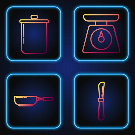 Set line Knife , Frying pan , Cooking pot and Scales . Gradient color icons. Vector
