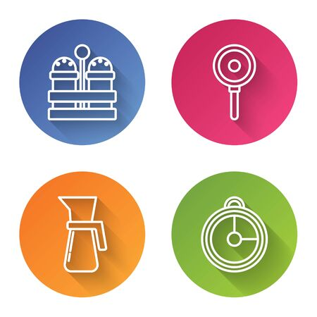 Set line Salt and pepper , Frying pan , Measuring cup and Kitchen timer . Color circle button. Vector