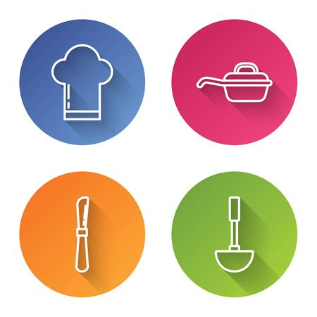 Set line Chef hat , Frying pan , Knife and Kitchen ladle . Color circle button. Vector