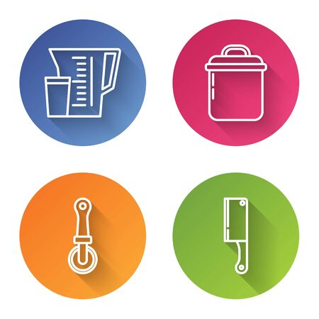 Set line Measuring cup, Cooking pot , Pizza knife and Meat chopper . Color circle button. Vector Stock Illustratie