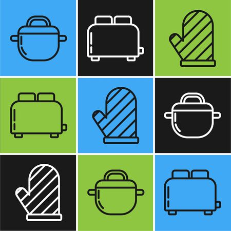 Set line Cooking pot , Oven glove and Toaster with toasts icon. Vector