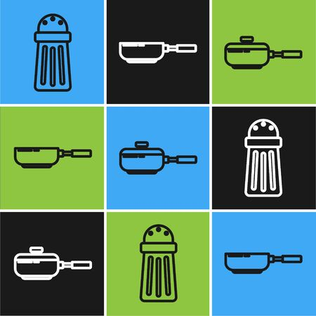 Set line Salt , Frying pan and Frying pan icon. Vector