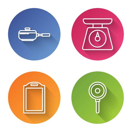 Set line Frying pan , Scales , Cutting board and Frying pan . Color circle button. Vector Ilustração