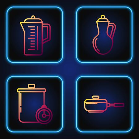 Set line Frying pan , Cooking pot and kitchen timer , Teapot and Bottle of olive oil . Gradient color icons. Vector