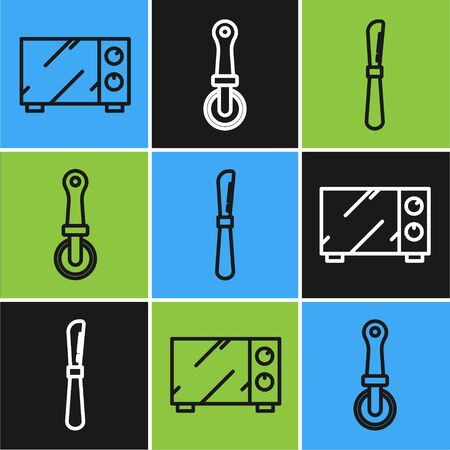 Set line Microwave oven , Knife and Pizza knife icon. Vector 写真素材 - 137737170