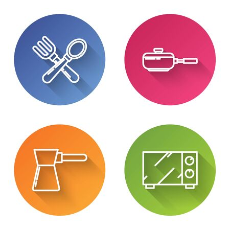 Set line Crossed fork and spoon , Frying pan , Coffee turk and Microwave oven . Color circle button. Vector