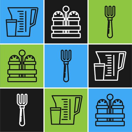 Set line Measuring cup, Fork and Salt and pepper icon. Vector