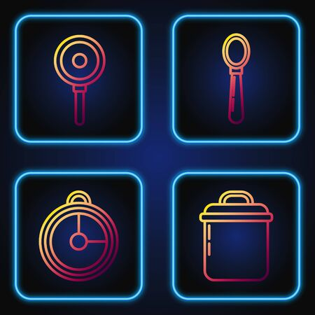 Set line Cooking pot , Kitchen timer , Frying pan and Spoon . Gradient color icons. Vector