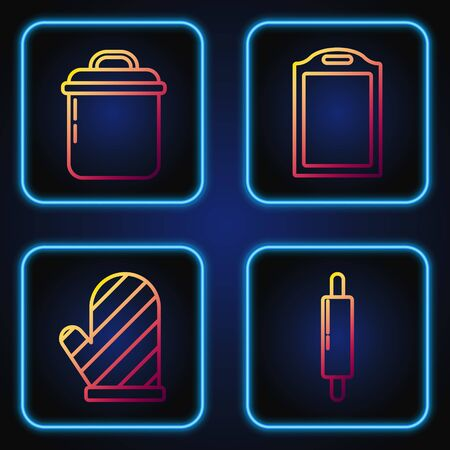 Set line Rolling pin , Oven glove , Cooking pot and Cutting board . Gradient color icons. Vector