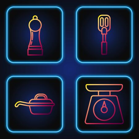 Set line Scales , Frying pan , Pepper and Spatula . Gradient color icons. Vector Ilustração
