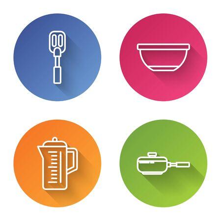 Set line Spatula , Bowl , Teapot and Frying pan . Color circle button. Vector Ilustração