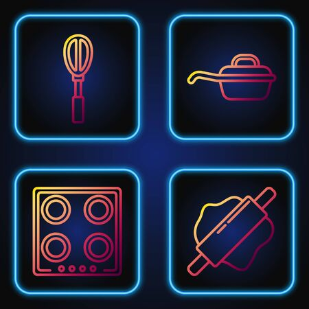 Set line Rolling pin , Gas stove , Kitchen whisk and Frying pan . Gradient color icons. Vector