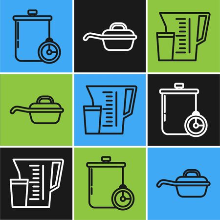 Set line Cooking pot and kitchen timer , Measuring cup and Frying pan icon. Vector