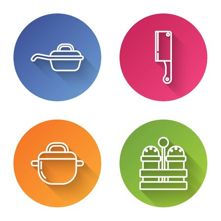 Set line Frying pan , Meat chopper , Cooking pot and Salt and pepper . Color circle button. Vector