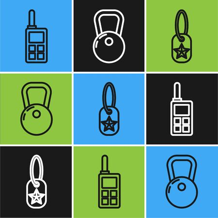 Set line Walkie talkie , Military dog tag and Kettlebell icon. Vector Vectores
