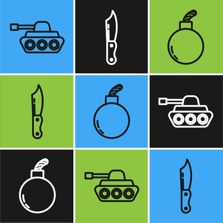 Set line Military tank , Bomb ready to explode and Military knife icon. Vector