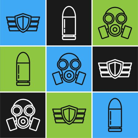 Set line Military reward medal , Gas mask and Bullet icon. Vector