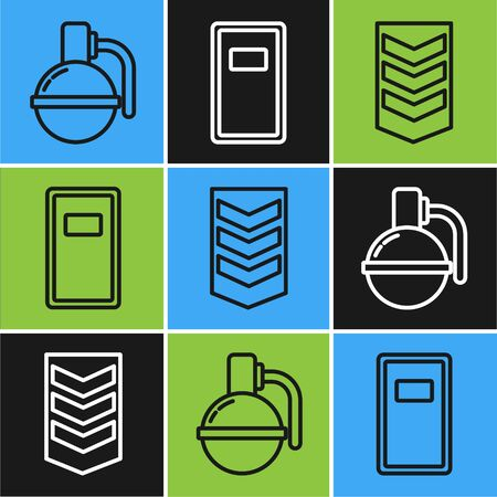 Set line Hand grenade , Military rank and Police assault shield icon. Vector Ilustração
