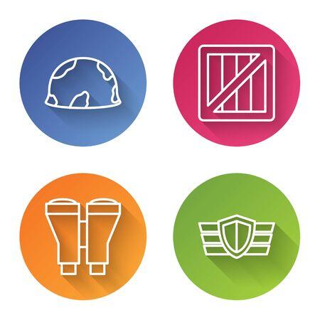 Set line Military helmet , Military ammunition box, Binoculars and Military reward medal . Color circle button. Vector Illustration
