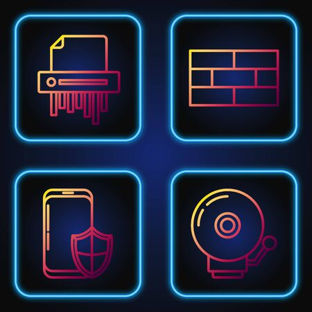 Set line Ringing alarm bell , Smartphone with security shield , Paper shredder confidential and Bricks . Gradient color icons. Vector Stock fotó - 137645065