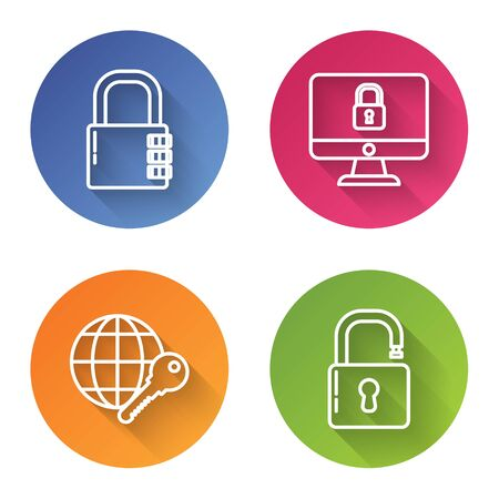 Set line Safe combination lock , Lock on computer monitor screen, Globe key and Open padlock . Color circle button. Vector