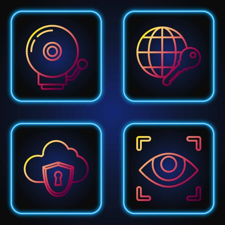 Set line Eye scan , Cloud and shield, Ringing alarm bell and Globe key . Gradient color icons. Vector Illustration