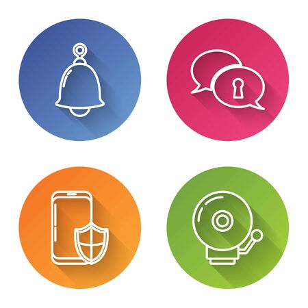 Set line Ringing bell , Protection of personal data , Smartphone with security shield and Ringing alarm bell . Color circle button. Vector