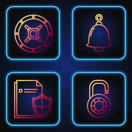 Set line Safe combination lock wheel , Document protection concept , Safe and Ringing bell . Gradient color icons. Vector