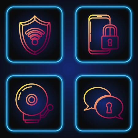 Set line Protection of personal data , Ringing alarm bell , Shield with WiFi wireless internet network and Smartphone with closed padlock . Gradient color icons. Vector