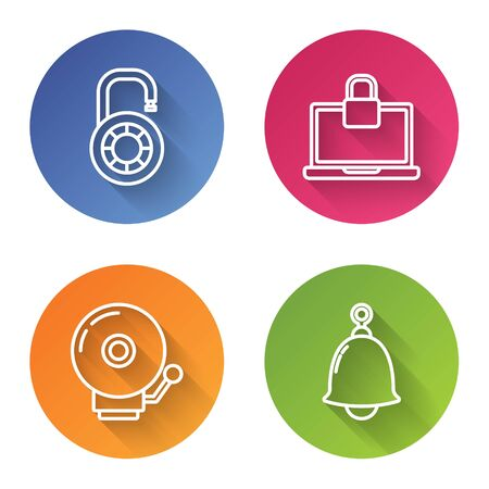 Set line Safe combination lock wheel , Laptop and lock , Ringing alarm bell and Ringing bell . Color circle button. Vector