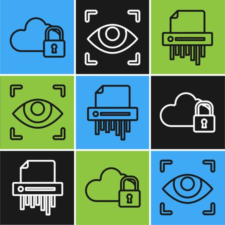 Set line Cloud computing lock , Paper shredder confidential and Eye scan icon. Vector Stock fotó - 137645206