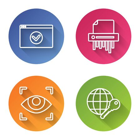 Set line Secure your site with HTTPS, SSL, Paper shredder confidential, Eye scan and Globe key . Color circle button. Vector