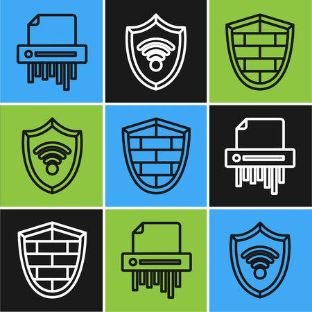 Set line Paper shredder confidential, Shield with cyber security brick wall and Shield with WiFi wireless internet network icon. Vector Stock fotó - 137645228
