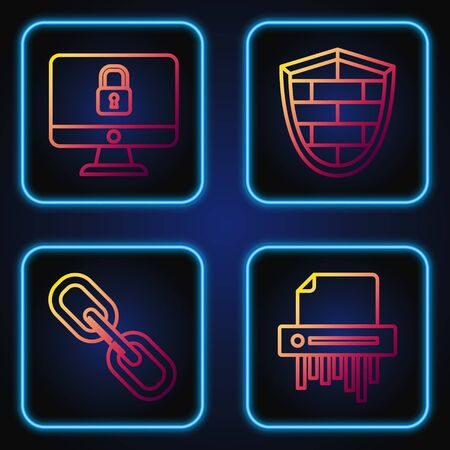 Set line Paper shredder confidential, Chain link , Lock on computer monitor screen and Shield with cyber security brick wall . Gradient color icons. Vector Illusztráció