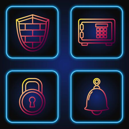 Set line Ringing bell , Lock , Shield with cyber security brick wall and Safe . Gradient color icons. Vector  イラスト・ベクター素材