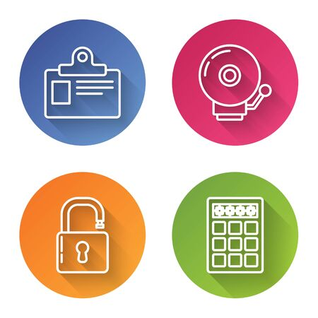 Set line Identification badge, Ringing alarm bell , Open padlock and Password protection and safety access . Color circle button. Vector  イラスト・ベクター素材