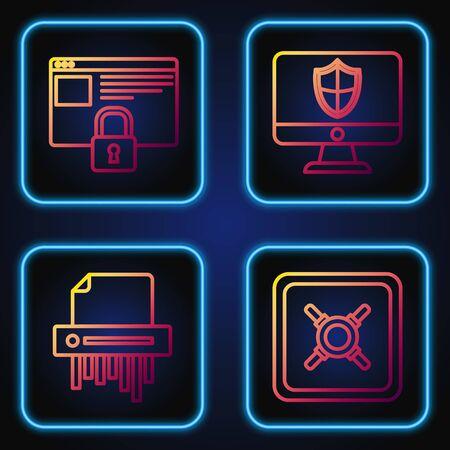 Establezca la línea segura, trituradora de papel confidencial, proteja su sitio con HTTPS, SSL y monitor y escudo de computadora. Iconos de colores degradados. Vector Ilustración de vector