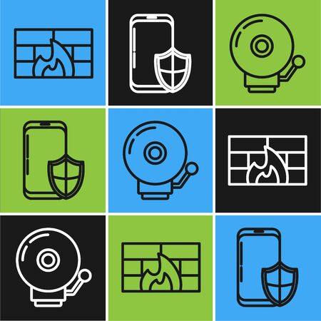 Set line Firewall, security wall , Ringing alarm bell and Smartphone with security shield icon. Vector