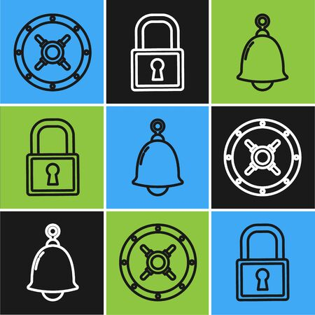 Set line Safe , Ringing bell and Lock icon. Vector  イラスト・ベクター素材